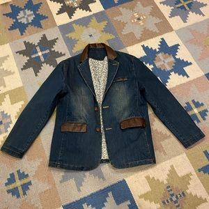 Vintage denim and f leather blazer jacket coat